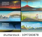set of natural disaster or... | Shutterstock .eps vector #1097283878