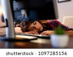young woman worn out because of ... | Shutterstock . vector #1097285156