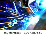 pipe welding. welding works.... | Shutterstock . vector #1097287652