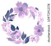 watercolor wreath of loose... | Shutterstock . vector #1097291378