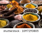 spices and herbs in wooden... | Shutterstock . vector #1097293805