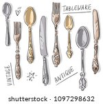 set illustration with antique... | Shutterstock .eps vector #1097298632