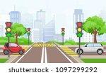 vector illustration of road... | Shutterstock .eps vector #1097299292