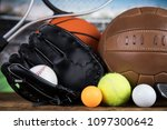sport equipment  soccer tennis... | Shutterstock . vector #1097300642