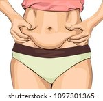 the girl clamps the fold of the ... | Shutterstock .eps vector #1097301365
