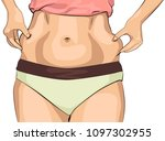 the girl clamps the folds of... | Shutterstock .eps vector #1097302955