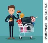 businessman and shopping... | Shutterstock .eps vector #1097314466