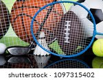 sport equipment  soccer tennis... | Shutterstock . vector #1097315402