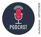 podcast radio icon illustration ... | Shutterstock .eps vector #1097315858