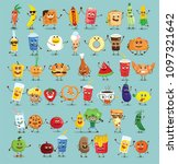 funny healthy and fast food... | Shutterstock .eps vector #1097321642