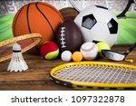 sport equipment  soccer tennis... | Shutterstock . vector #1097322878