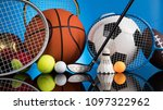 assorted sports equipment | Shutterstock . vector #1097322962