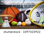 sport equipment and balls ... | Shutterstock . vector #1097323922