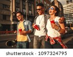 group of friends hangout at the ... | Shutterstock . vector #1097324795