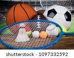 sport equipment and balls ... | Shutterstock . vector #1097332592