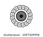 black vector mandala on white... | Shutterstock .eps vector #1097339996