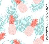 seamless pattern pineapple... | Shutterstock .eps vector #1097345696