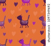 seamless pattern of purple cats ...   Shutterstock .eps vector #1097349692