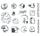 set of eagles. bald eagle logo. ... | Shutterstock .eps vector #1097351552