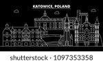katowice silhouette skyline.... | Shutterstock .eps vector #1097353358