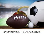 sport equipment and balls ... | Shutterstock . vector #1097353826