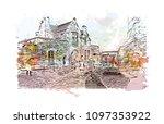 edinburgh castle is a historic... | Shutterstock .eps vector #1097353922