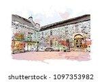 edinburgh castle is a historic... | Shutterstock .eps vector #1097353982