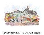 edinburgh castle is a historic... | Shutterstock .eps vector #1097354006