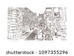 edinburgh castle is a historic... | Shutterstock .eps vector #1097355296