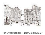 edinburgh castle is a historic... | Shutterstock .eps vector #1097355332