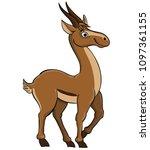 cute cartoon antelope | Shutterstock .eps vector #1097361155