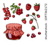 a jar of jam from red berries.... | Shutterstock .eps vector #1097362172