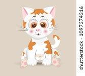 cat cute furry red fluffy... | Shutterstock .eps vector #1097374316