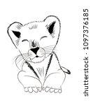 hand drawn monochrome vector... | Shutterstock .eps vector #1097376185