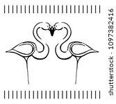 flamingo love illustration.... | Shutterstock .eps vector #1097382416