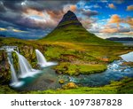 kirkjufell mountain and... | Shutterstock . vector #1097387828