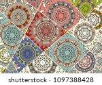 vector patchwork quilt pattern. ... | Shutterstock .eps vector #1097388428