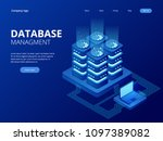 isometric database network... | Shutterstock .eps vector #1097389082