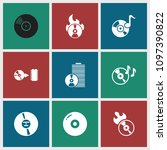 cd icon. collection of 9 cd... | Shutterstock .eps vector #1097390822