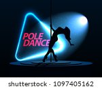 pole dance. silhouette of a... | Shutterstock .eps vector #1097405162