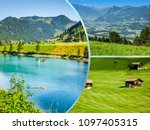collage of tourist photos of... | Shutterstock . vector #1097405315