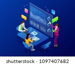 isometric business analysis and ... | Shutterstock .eps vector #1097407682