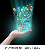 hand holding virtual object | Shutterstock . vector #109741682