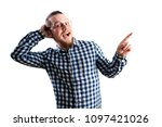 handsome guy pointing to the...   Shutterstock . vector #1097421026