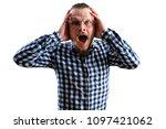 handsome young surprised man   Shutterstock . vector #1097421062