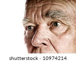 Elderly Man's Face Over White...