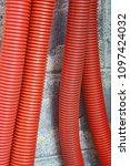 red corrugated curvilinear... | Shutterstock . vector #1097424032