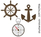 set of helm  compass and anchor   Shutterstock .eps vector #109742906