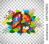 peace symbol with flowers... | Shutterstock . vector #1097429852