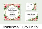 wedding invitation  floral... | Shutterstock .eps vector #1097445722